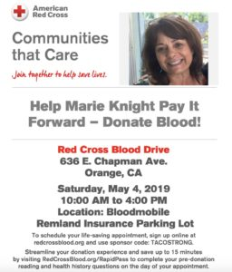 Help Marie Knight Pay It Forward – Donate Blood!